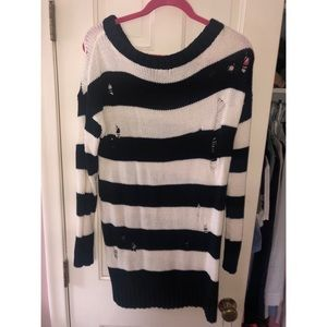 Distressed Black & White Stripped Express Sweater